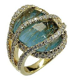MARK SILVERSTEIN 18K YELLOW GOLD TURQUIOSE AND DIAMOND RING  I think this would look better as a White Gold!!!❤❤❤❤: