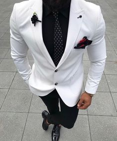 Ideas Wedding Suits Men Black And White Menswear Blazer Outfits Men, Stylish Mens Outfits, Designer Suits For Men, Elegantes Outfit, Tuxedo For Men, Suit Fashion, Black Mens Fashion Suits, Black Suit Men, Mens Fashion Blazer