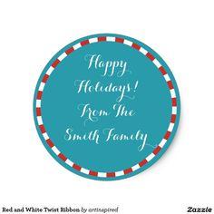 Red and White Twist Ribbon Classic Round Sticker