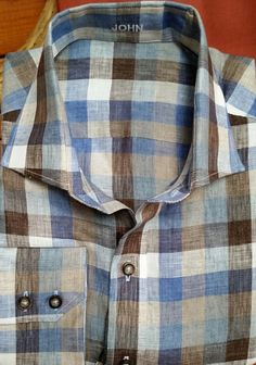 J. Hilburn BLUE/SAHARA LARGE LINEN GINGHAM- Spring 2, 2015. Also available at lynnhoffman.jhilburn.com