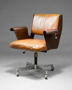 Gustavo Finali Pulitzer; Steel, Aluminum and Leather 'Albenga' Swivel Chair for Arflex, 1955.