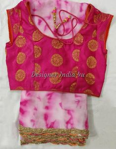 Saree Blouse Indian Ethnic Designer Pink with white tie dye Georgette sari Pink silk blouse custom made designer wear Silk Saree Blouse Designs, Fancy Blouse Designs, Kurta Designs, Sari Design, Trendy Sarees, Stylish Sarees, Designer Kurtis, Set Saree, Indian Blouse