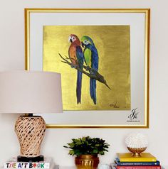 Original Abstract Animal Oil Painting,Gold Painting, Modern Animal Art, Blue Parrot painting with Gold On Canvas by Julia Kotenko by JuliaKotenkoArt on Etsy Parrot Painting, Oil Painting Abstract, Texture Painting, Fabric Painting, Acrylic Paintings, Gold Leaf Art, Gold Wall Art, Ceiling Art, Abstract Animals
