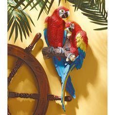 Design Toscano Inc Tropical Scarlet Macaws Wall Sculpture - QL11295