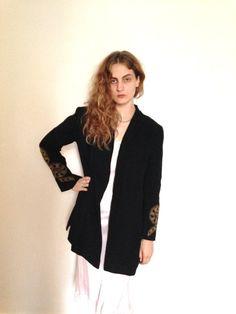 30's Vintage Embroidered Wool Jacket Elegant Drama medium