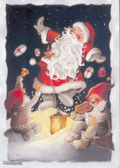 """From the """"Hare Relief Series,"""" no -- Finnish Christmas Cards -- by Kaarina Toivanen Christmas Paper Crafts, Christmas Clipart, Christmas Nativity, Christmas Past, Christmas Gift Wrapping, Father Christmas, Felt Christmas, Christmas Greeting Cards, Vintage Christmas Images"""