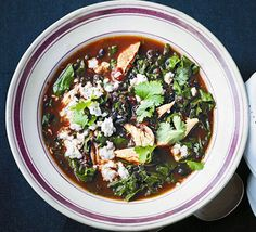 Use up leftover roast or ready-cooked chicken in this healthy and warming South-American style soup, spiced up with cumin and chilli