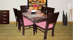 Picture of Rhinr 6 Seat Dinning set Gris Dinning Set, Dining Table, Interiors Online, Teak Wood, Interior Design, Modern, Furniture, Home Decor, Cobalt