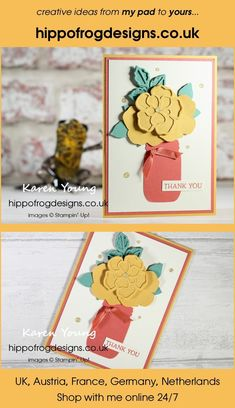 Thank You Card. Handmade using Wild Rose Dies, Jar Punch, Blossoms in Bloom Stamp Set, In Color, Ornate Garden Ribbon Combo Pack, Gold Glitter Enamel Dots and Stampin' Cut & Emboss Machine from Stampin' Up! Visit www.hippofrogdesigns.co.uk for more project ideas. Karen Young, Class Projects, Emboss, Gold Glitter, Blossoms, Thank You Cards, Project Ideas, Punch, Stampin Up