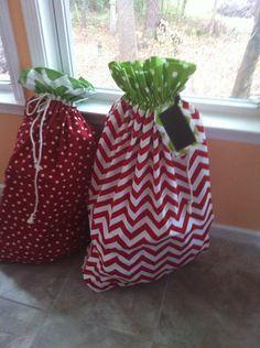 Red chevron Santa bag by SewingforAdoptions on Etsy