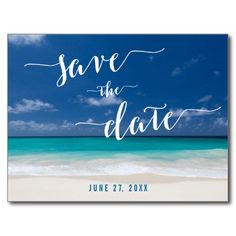 Calligraphy Beach Save The Date Postcards