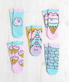 Pastel Pusheen 5-pack ankle socks