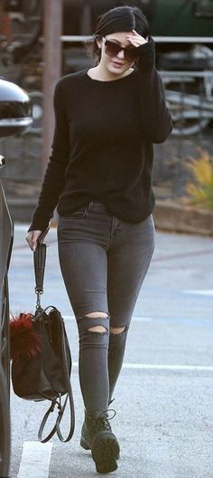 ripped jeans kylie jenner fall outfits streetstyle bag shirt pants shoes sunglasses sweater