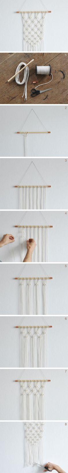 kostenlose DIY Anleitung: DIY: Makramee Wandteppich knüpfen // free DIY tutorial: how to make a macrame wall hanging via DaWanda.com: