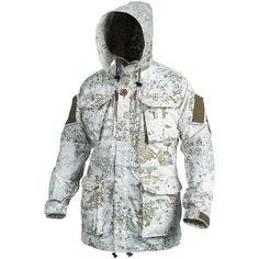 """Absolutely my favorite Winter Camo Pattern, Pencott's """"SnowDrift"""" Pattern! The Personal Clothing System Smock (PCS) Parka/Smock from HELIKON-TEX is now also available in Olive Green Pencott Camouflage Greenzone & Snowdrift. Mens Hunting Jacket, Hunting Jackets, Hunting Clothes, Hunting Camo, Winter Camo, Winter Gear, Tactical Clothing, Tactical Gear, Airsoft"""