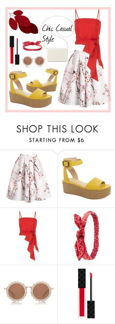 """Holiday & Cherry Bomb"" by fsjamazon ❤ liked on Polyvore featuring MDS Stripes, Charlotte Russe, House of Holland, Gucci and Nine West"