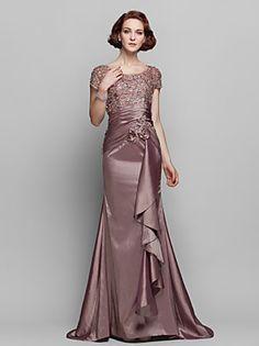 Trumpet/Mermaid Plus Sizes Mother of the Bride Dress - Brown Sweep/Brush Train Short Sleeve Taffeta/Lace