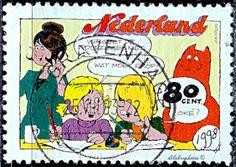 Nederland.   Writing letters. Jan, Jans en de Kinderen Comic Strip, by Jan Kruis.  Scott 1015 A382, Issued 1998 Oct. 6, Litho.,  Perf. 13 1/2x13, 80. /ldb.