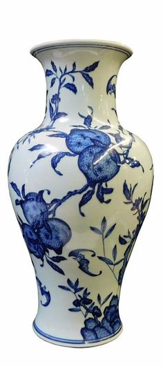 Chinese Blue White Porcelain Peach Graphic Vase cs1751S