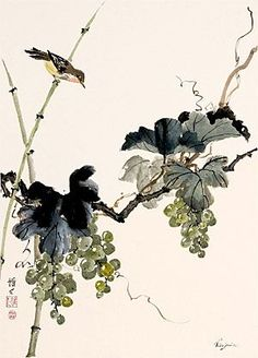 Japanese Ink Painting, Sumi E Painting, Japan Painting, Chinese Painting, Japanese Art, Watercolor Projects, Watercolor Paintings, Art Chinois, Tinta China