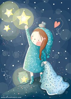 Children Illustration - Nursery - Good Night Girl - ShivaIllustrations