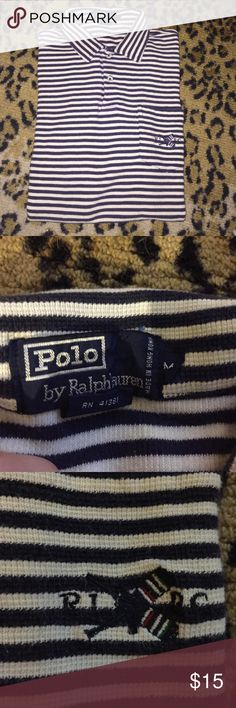 🔹Men's Polo Ralph Lauren size Medium Polo shirt🔹 Men's navy and white striped nautical short sleeved polo shirt. Size medium. 100% cotton. Polo by Ralph Lauren Shirts Polos