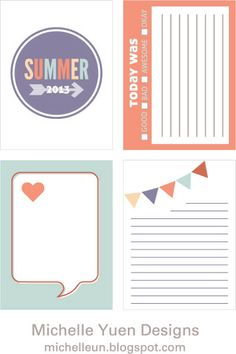 This blogger is creating and sharing Project Life journaling cards.  Free downloadable printables.