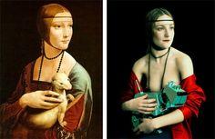 Dame à l'hermine de Léonard De Vinci, peinture sur bois, 1488-1490 et Lady's Portrait With Dog de Mariano Vargas, photographie digitale, 200...
