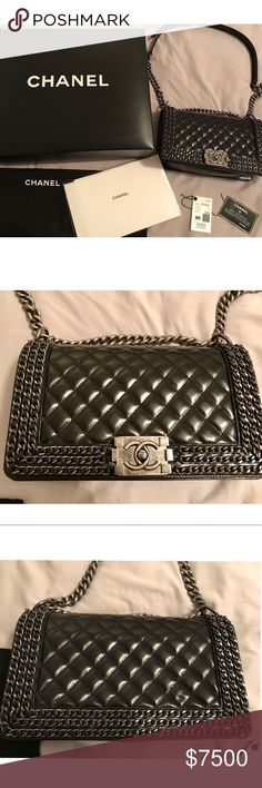 83b0510af67f73 Spotted while shopping on Poshmark: Chanel Le Boy Chained Flapbag Ruthenium  Old Medium! #