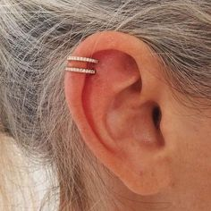 piercing - too high tho. Perfect pave hoops -double helix piercing - too high tho. Perfect pave hoops - Ear Piercing Ideas For Females Ear Piercing Helix, Piercing Implant, Cute Ear Piercings, Body Piercings, Cartilage Piercings, Unique Piercings, Peircings, Tongue Piercings, Cute Cartilage Piercing