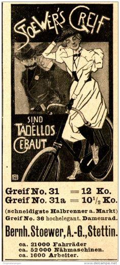 Original-Werbung/ Anzeige 1898 - STOEWER´S GREIF FAHRRÄDER - STETTIN - ca. 45 x…