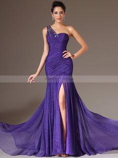 Sequined One Shoulder Chiffon Trumpet Evening Dress with Split