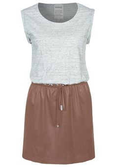 Leenoy jersey dress grey + beige leather skirt (Lila Grace)