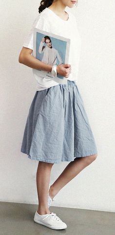 Naning9 - Linen Skirt - Loose Tee - Canvas Sneakers - Korean Fashion - Korean Style
