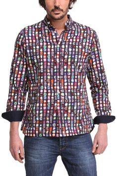 "Desigual Mens Shirt ""Mimitocro"", 46C1229 5001. Long sleeves men's shirt with unique Desigual print in small colourful circlesVery popular style!"