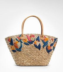 Tory Burch Straw Embroidered Tulip Bucket Tote