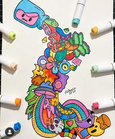 Graffiti Cartoons, Graffiti Art, Doodle Cartoon, Cartoon Art, Cool Art Drawings, Art Drawings Sketches, Alpha Phi Crafts, Doddle Art, Panda Wallpapers