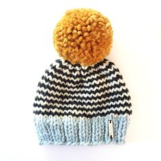 Chocolate Baby Beanie with Off White Striped Brim Brown Swirl Baby Beanie with Cream Striped Brim