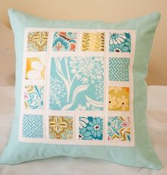 Design your own photo charms compatible with your pandora bracelets. Love this idea - simple and clean. Great way to use a favorite charm square and pack! Patchwork Cushion, Quilted Pillow, Small Quilts, Mini Quilts, Patch Quilt, Quilting Projects, Quilting Designs, Custom Pillows, Decorative Pillows