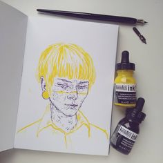 inktober day 22 With awesome liquitex inks in cadmium yellow light hue and dioxazine purple (I love this pigment!) using dip pen. I have lots of ideas for these colours together. Based loosely on Chris Drew because his style is dope.