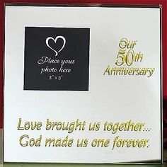 "50th wedding Anniversary Mirrored  Frame Picture ""Love brought us together, God"