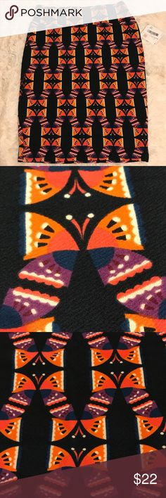 """LuLaRoe CASSIE Skirt XL (18-20) Black Butterfly Brand NEW With Tags LuLaRoe """"CASSIE"""" Skirt.  • Size: Extra Large (18-20) • Black background with colorful butterflies design. Stretchy!  • 96% Polyester, 4% Spandex. Made in Mexico. LuLaRoe Skirts Pencil"""