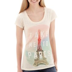 Short-Sleeve Paris Graphic T-Shirt White ($9.99) ❤ liked on Polyvore featuring tops, t-shirts, short sleeve tops, white graphic tee, mighty fine t-shirts, short sleeve graphic tees and graphic t shirts
