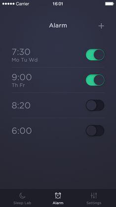 Sleep Time App by Michal Langmajer. The dark UI is far more suitable for setting alarms. Mobile Ui Design, App Ui Design, Dashboard Design, User Interface Design, Flat Design, Icon Design, Design Design, To Do App, Alarm App