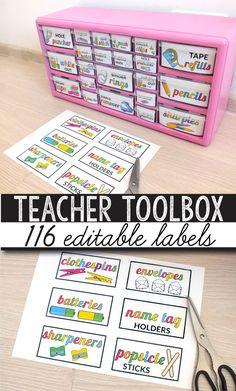 Teacher Toolbox Labels, Teachers Toolbox, Teacher Supplies, Classroom Supplies, Teacher Tools, Teacher Binder, Teacher Stuff, Teacher Resources, Teacher Desk Organization