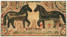 Double-Horse Hooked Rug. This and more important folk art for sale on CuratorsEye.com