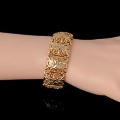 cuff bangle on sale at reasonable prices, buy Charm Golden Women Men's Big Bracelets Dubai Gold Color Cuff Bangles Party Wedding Daily Gift Folli Brand Jewelry from mobile site on Aliexpress Now! Gold Bangles Design, Gold Jewellery Design, Dubai Gold Jewelry, Stylish Jewelry, Bridal Jewelry, Jewelery, Hijab Gown, Indian Bangles, Abayas