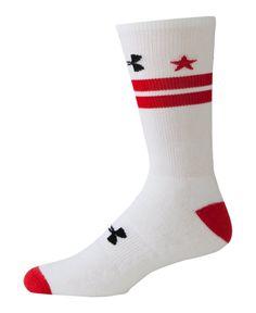 Under Armour Men's UA DC Flag Crew Socks Large White