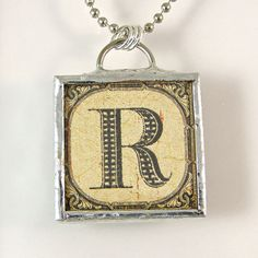 Letter R Initial Pendant Necklace by XOHandworks $20