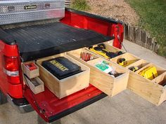10 Ideas Tool Storage Trailer Truck Bed RV Storage A tool storage trailer is needed for transporting tools and equipment to the work site. When people go to a job, they need something to protect their . Truck Bed Drawers, Truck Bed Storage, Van Storage, Tool Storage, Trailer Storage, Vehicle Storage, Camping Storage, Camping Organization, Tool Organization